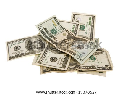 American bills on a white background