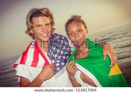 American Boy with Brazilian Girl at Beach,Italy - stock photo