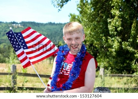 American Boy with the Flag
