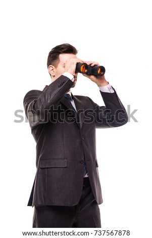 american businessman using binoculars on white background