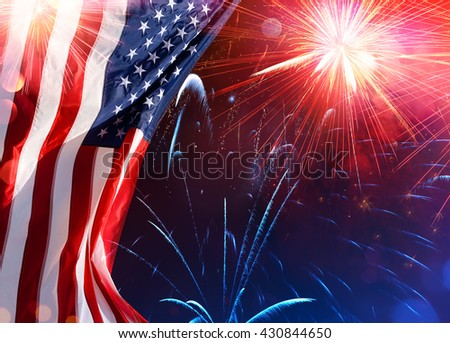 American Celebration - Usa Flag With Fireworks  - stock photo