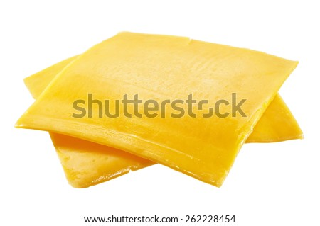 American Cheese Slices - stock photo