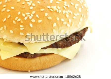 American Cheeseburger Isolated on a White Background