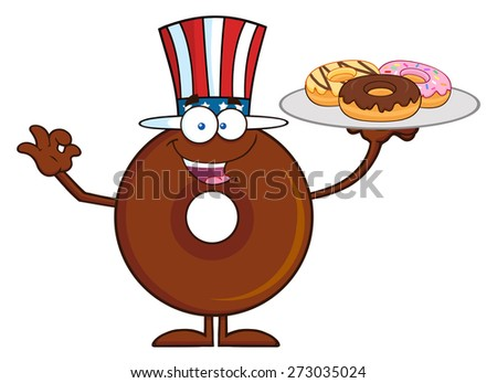 American Chocolate Donut Cartoon Character Serving Donuts. Raster Illustration Isolated On White - stock photo