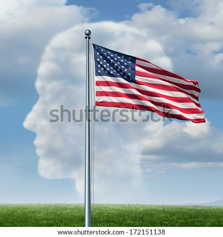 American citizenship and immigration in the United States concept as a group of clouds as a human head and a stars and stripes flag waving in the wind as a metaphor for national pride and patriotism. - stock photo