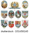 American coat of arms collection (isolated on white background) / vintage illustration from Meyers Konversations-Lexikon 1897 - stock photo