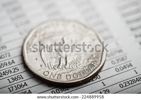 american coin the financial report. Rate of the dollar (shallow DOF)  - stock photo