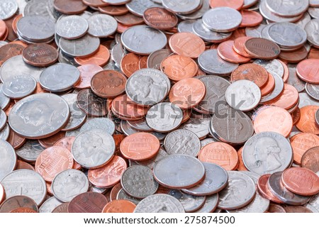 American coins background - stock photo