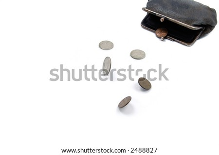 american coins running from old suede purse on the white background - stock photo