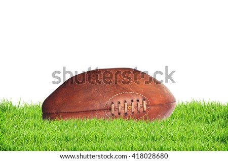 American college high school junior striped football isolated on white background - stock photo