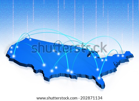 American connections map for internet, transport, and calling network concepts - stock photo