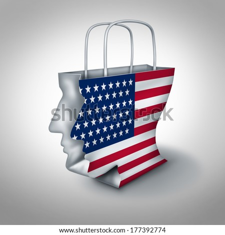 American consumer concept as a shopping bag shaped as a human head with a United States flag as an economic symbol of retail fashion industry or dealing with spending and credit debt. - stock photo