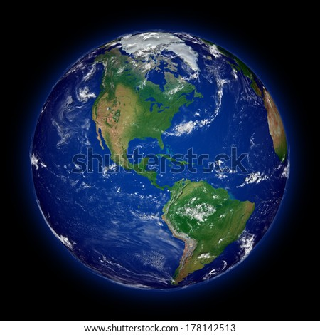 American continent on blue planet Earth isolated on black background. Highly detailed planet surface. Elements of this image furnished by NASA.