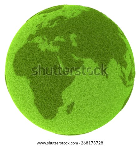 American continents on green planet covered with grass isolated on white background. Concept of ecology and clean environment. Elements of this image furnished by NASA - stock photo