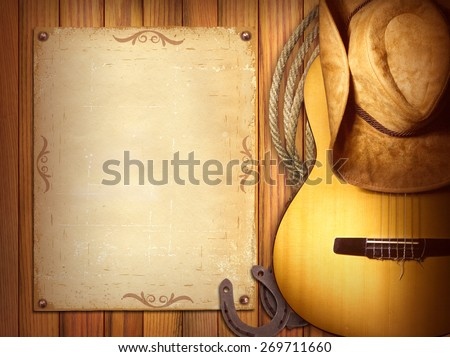 American Country music poster for text.Wood background with guitar and cowboy hat - stock photo