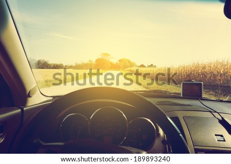 American Country Road - inside the car - stock photo