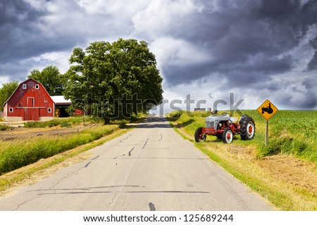 American Country Road With Blue Sky - stock photo