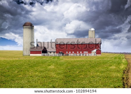 American Country with stormy sky - stock photo