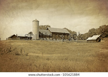 American Countryside - Vintage Design - stock photo