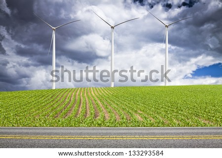 American Countryside  With Cloudy Sky - stock photo