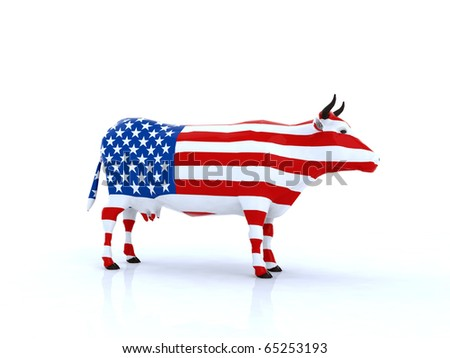 american cow 3d illustration