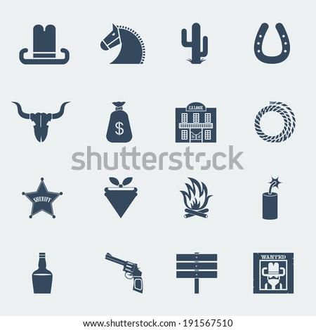American cowboy icons. Wild west pictograms isolated for design.Raster - stock photo