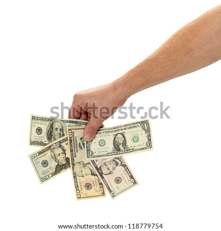 American currency is fanned out isolated on white - stock photo