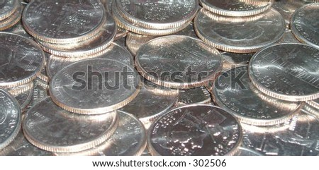 American currency - State quarters - stock photo