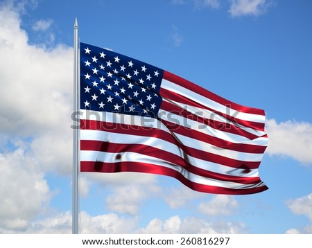 american 3d flag floating in the wind. 3d illustration.