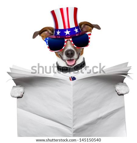 american dog reading a big blank newspaper - stock photo