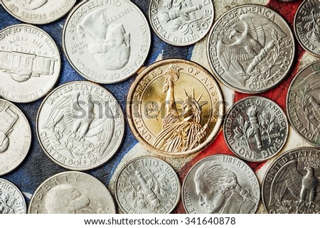 american dollar and cent coins, macro view - stock photo