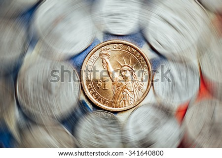 american dollar and cent coins with curl effect - stock photo