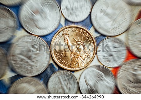 american dollar and cent coins with zoom effect - stock photo