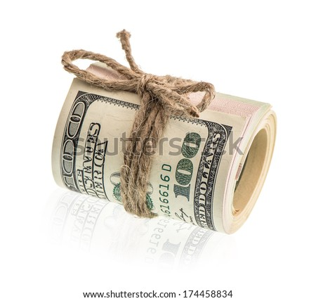 american dollar banknotes rolled isolated on white. money background - stock photo