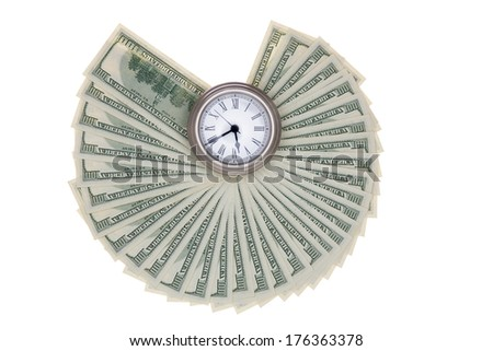 American dollar bills fanned out around a pocket watch isolated on a white background in a financial concept depicting timing, urgency and deadlines in investment and business - stock photo