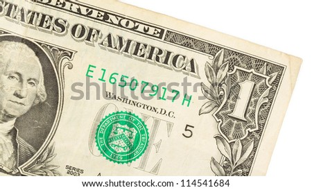 American dollar (one) close-up, isolated on white - stock photo