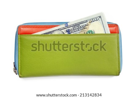 american dollars banknotes  in colorful leather wallet - stock photo