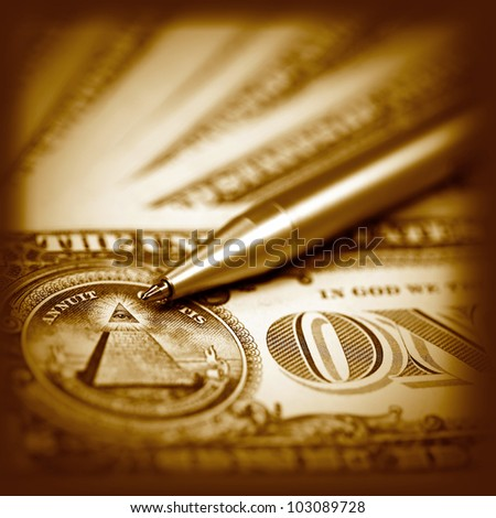 American dollars close- up in reto style - stock photo