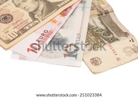 American dollars, European euro,Chinese yuan and Russian Ruble bills  - stock photo