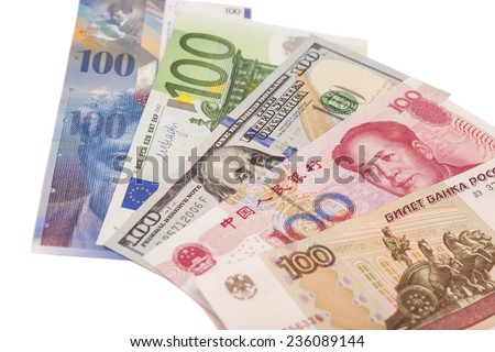 American dollars, European euro,Swiss franc,Chinese yuan and Russian Ruble bills   - stock photo