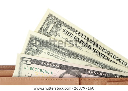 American dollars in brown wallet