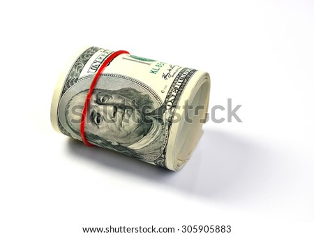 American dollars isolated on white background, selective focus.