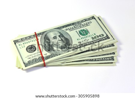 American dollars isolated on white background, selective focus.  - stock photo