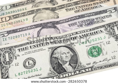 american dollars isolated (over white) - stock photo