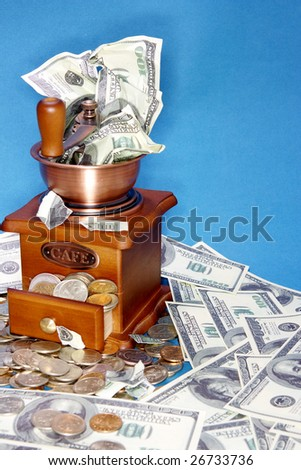 American dollars of blue background - stock photo