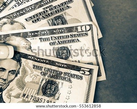 American dollars on a gray background. Money is a power wallpaper