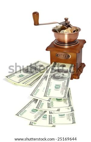 American dollars white background - stock photo