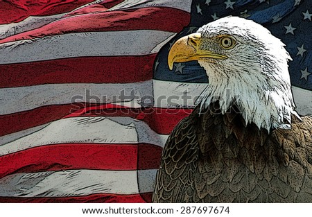 American Eagle and Flag - Grunge