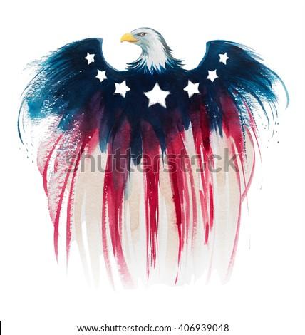 american eagle watercolor - stock photo