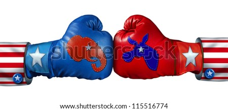 American Election Campaign Fight As Republican Versus Democrat As Two Boxing Gloves With The Elephant And